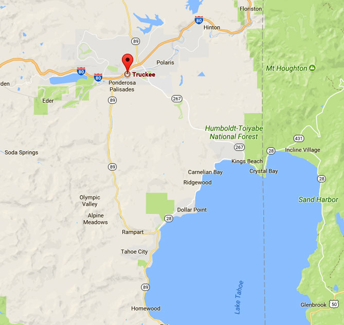Map of NW Lake Tahoe area serviced by Truckee Roofing